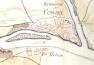 Az 1782. évi katonai felmérés, rajta a repülőhíd és a fogadó
