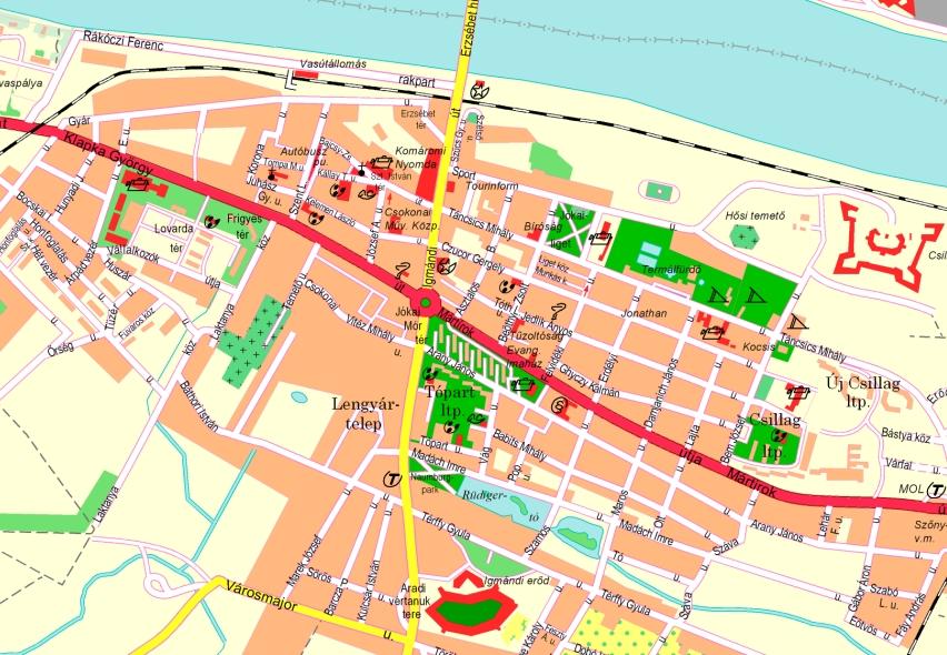 tata térkép látnivalók Komárom tata térkép látnivalók